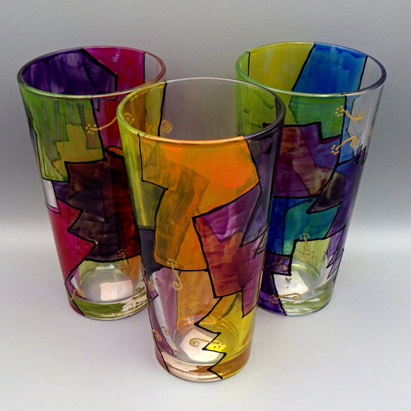 Hand Painted Pint Glass - Abstract by Frenzy