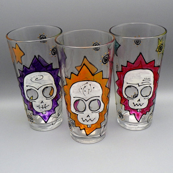 Hand Painted Pint Glass - Calavera Skull by Frenzy