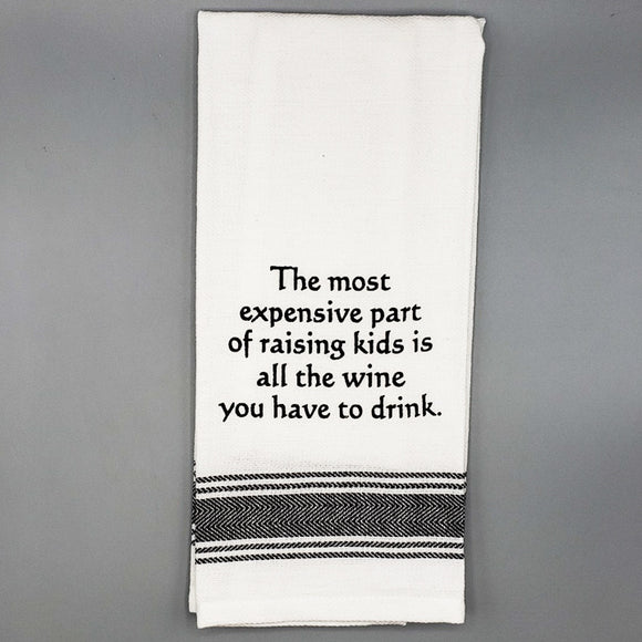 Slogan Tea Towel: Raising Kids