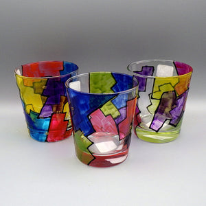 Hand Painted Rocks Glass - Abstract by Frenzy