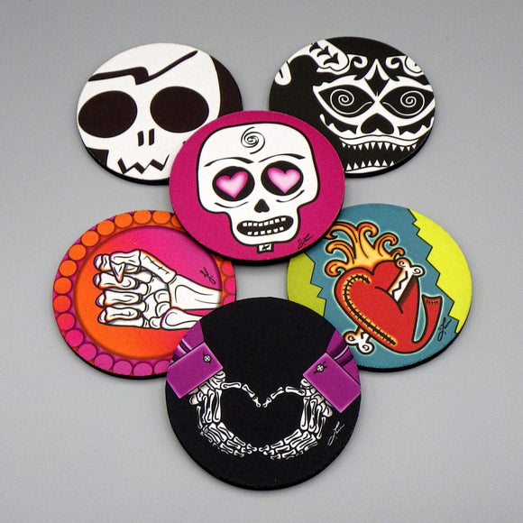 Rubber Coasters - Head, Heart, Hand Set by Frenzy