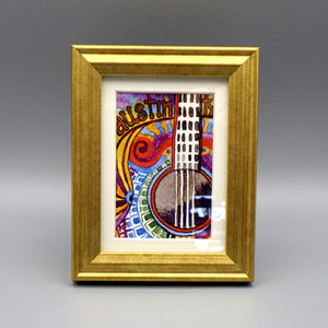 "Framed Print - Austin Guitar by Connie Adcock (3"" x 2"")"