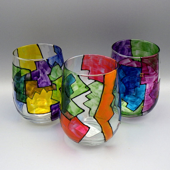 Hand Painted Stemless Wine Glass - Abstract by Frenzy