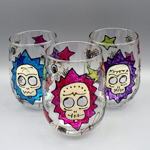 Hand Painted Stemless Wine Glass - Calavera Skull by Frenzy