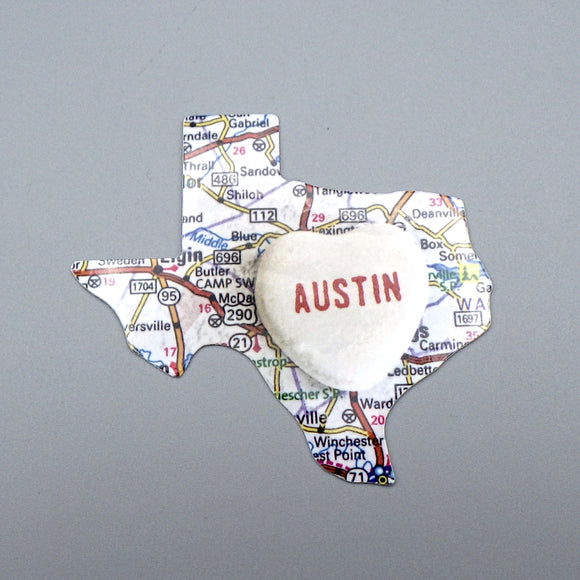 Sticker - Texas Map / Austin Candy Heart