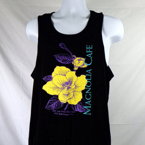 Tank Top - Magnolia Flowers Black