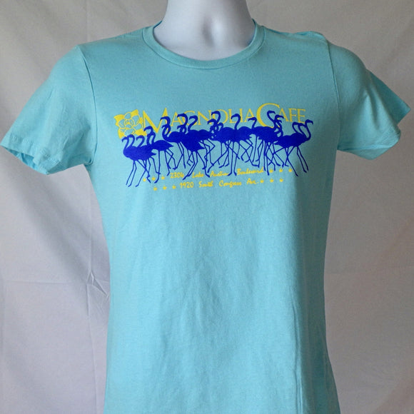 Woman's T-Shirt - Magnolia Flamingos Blue (Jr Cut)