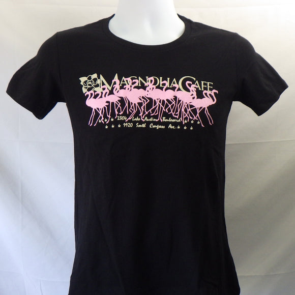 T-Shirt - Magnolia Cafe, Pink Flamingos on Black [Women's Cut]