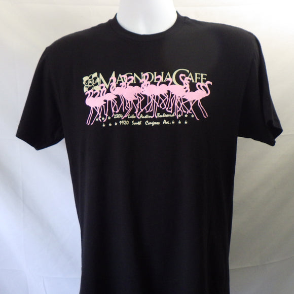 T-Shirt - Magnolia Cafe, Pink Flamingos on Black