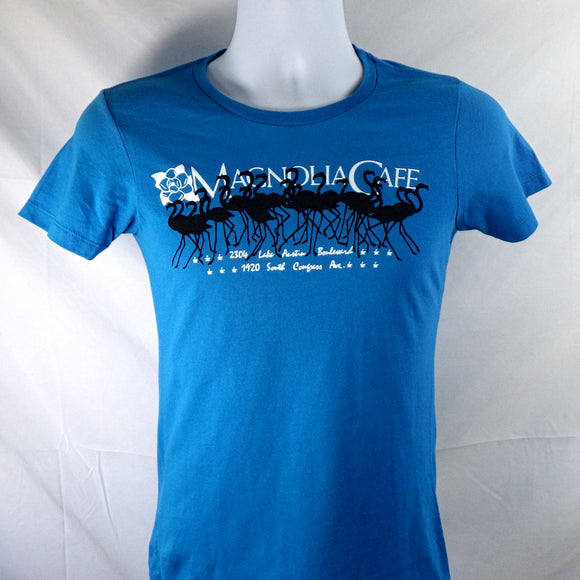 T-Shirt - Magnolia Flamingos Light Blue [Woman's Cut]