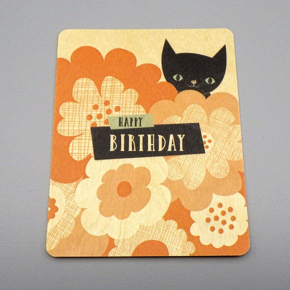 Wooden Birthday Card - Black Cat