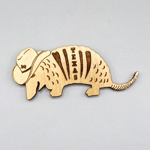 Wooden Magnet - Texas Armadillo by Lazer Beam