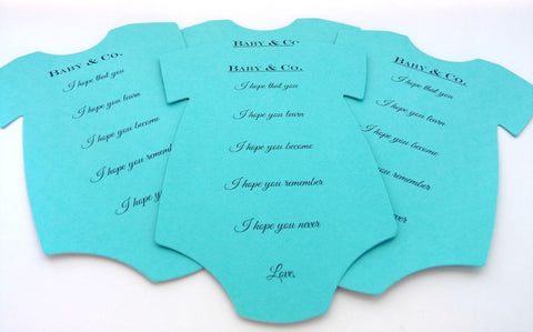 Onesie Wish Cards / Advice Cards Baby Shower Activity Game