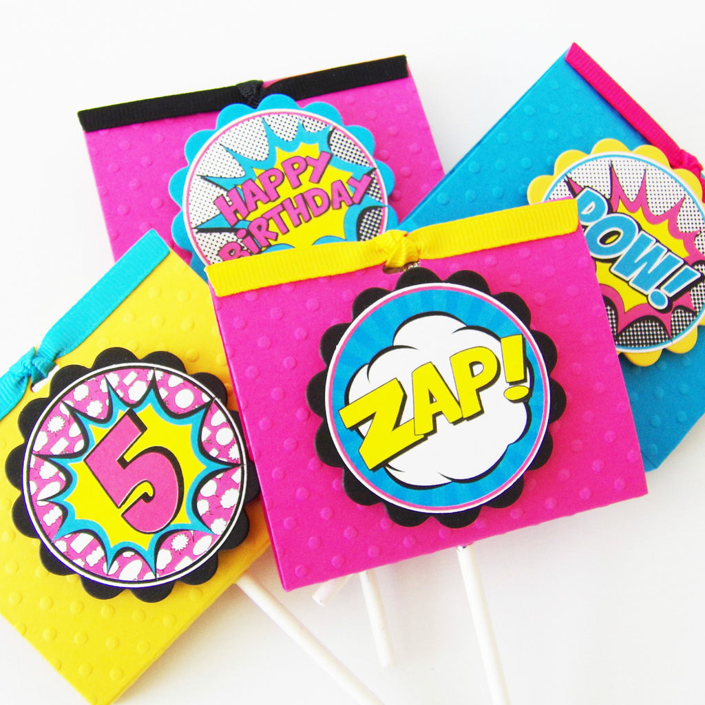 Girl Superhero Party Food Labels Or Place Cards Kaleidoscope