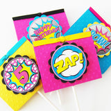 Girl Superhero Party Food Labels or Place Cards