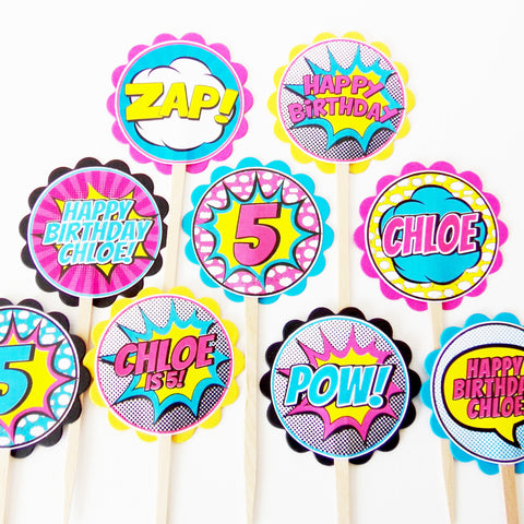 Girl Superhero Personalized Cupcake Toppers (24 Pc)