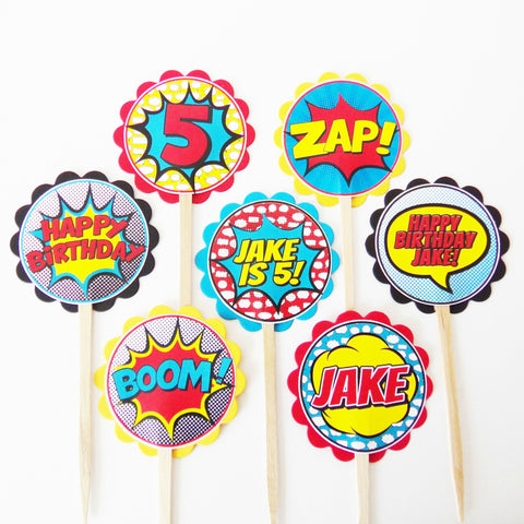 Boy Superhero Personalized Cupcake Toppers (24 pc)