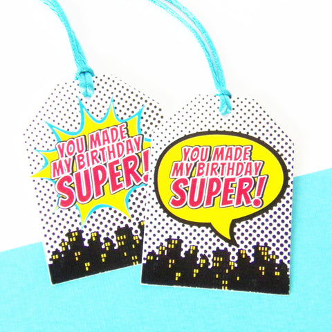 Boy Superhero XL Favor Tags