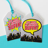 Boy Superhero Personalized Cupcake Toppers & Wrapper Set