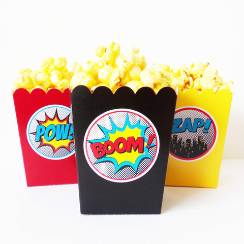 Boy Superhero Mini Popcorn Snack Boxes