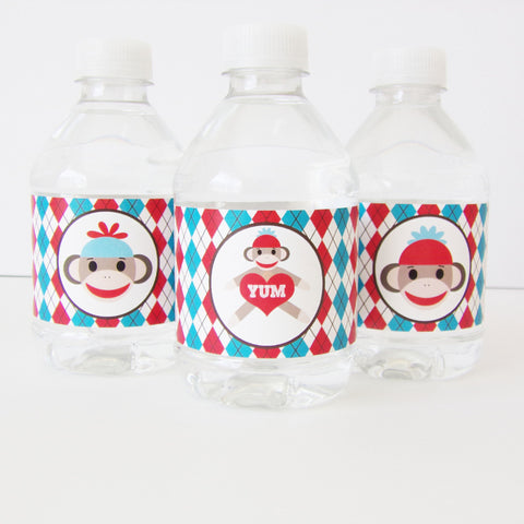 Sock Monkey Water/ Milk Bottle Labels