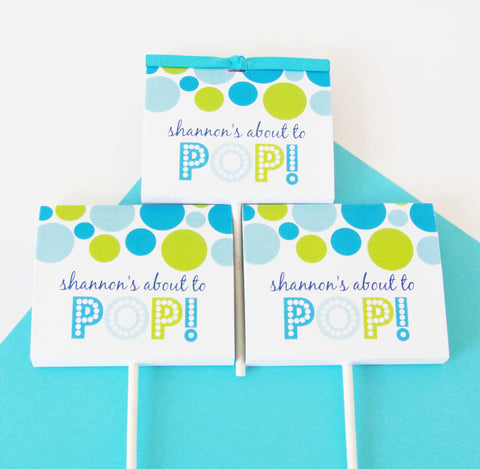 Blue About To Pop Lollipop Party Favors