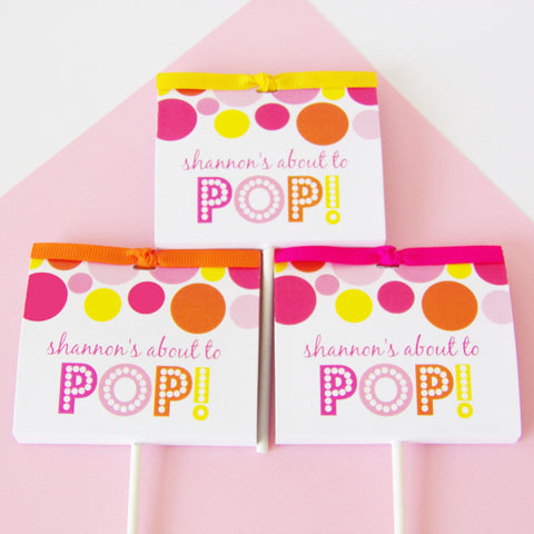Pink About To Pop Lollipop Party Favors