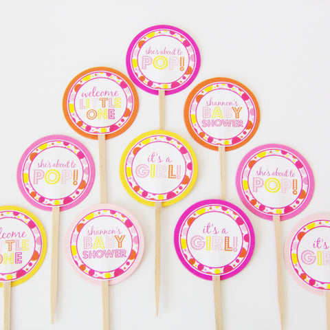 Pink About To Pop Cupcake Toppers (24 pc)