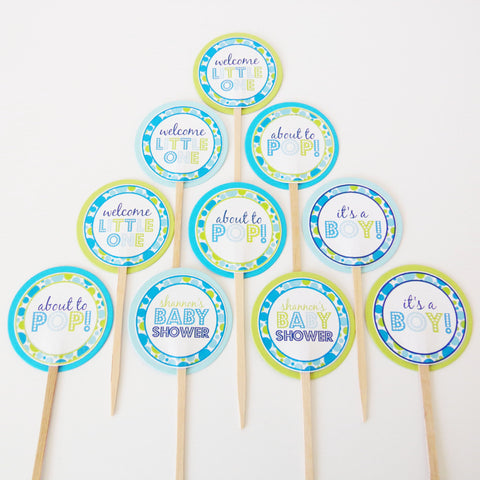 Blue About To Pop Cupcake Toppers (24 pc)