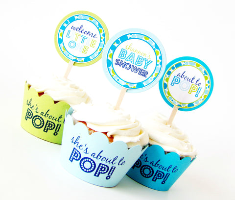 Blue About To Pop Cupcake Toppers & Wrappers Set