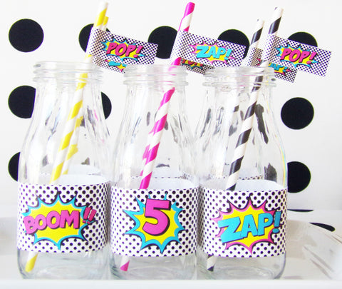 Girl Superhero Straw Flags with Paper Straws Set