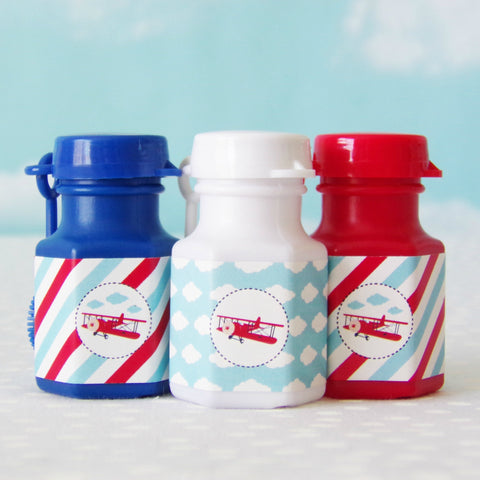 Vintage Airplane Mini Bubble Party Favors