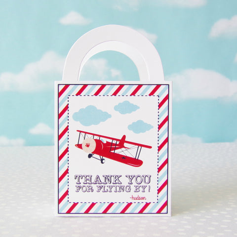 Vintage Airplane Personalized Favor Bags