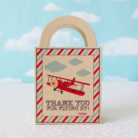 Vintage Airplane Personalized Favor Bags {Kraft}