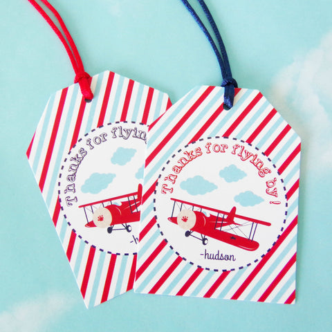 Vintage Airplane Favor Tags