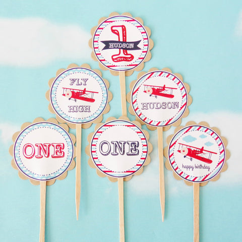 Vintage Airplane Cupcake Toppers (24 pc)