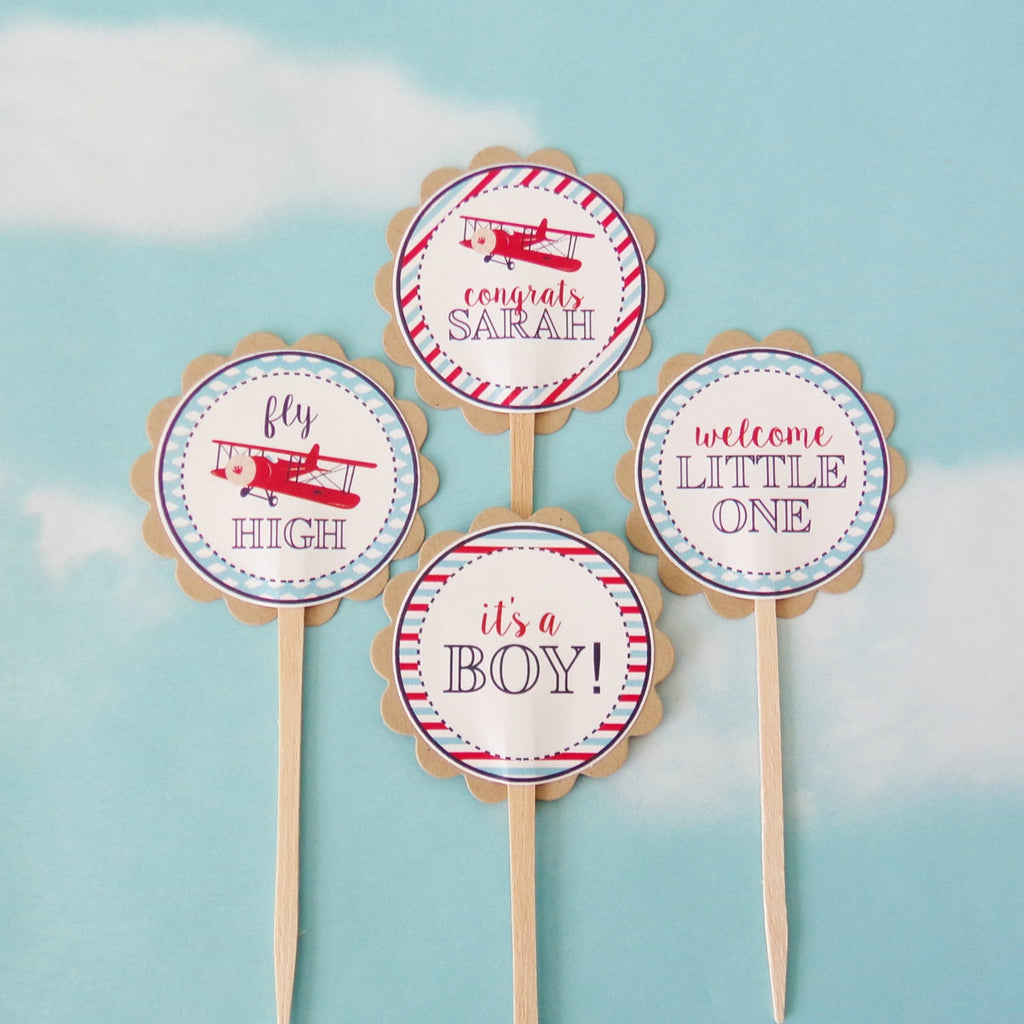 Vintage airplane baby shower cupcake toppers 24 pc for Baby shower cupcake picks decoration