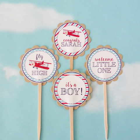 Vintage Airplane Baby Shower Cupcake Toppers (24 pc)