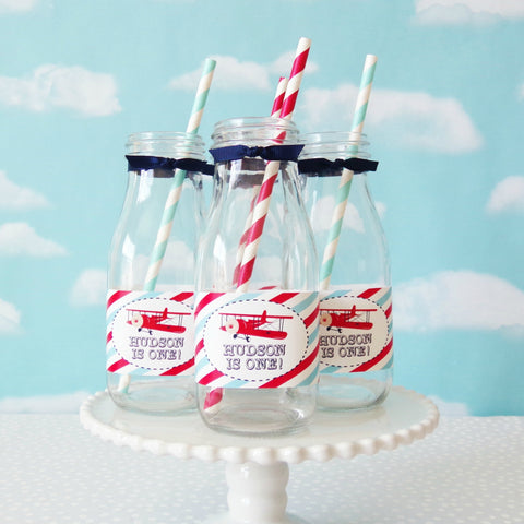 Vintage Airplane Water/Milk Bottle Labels