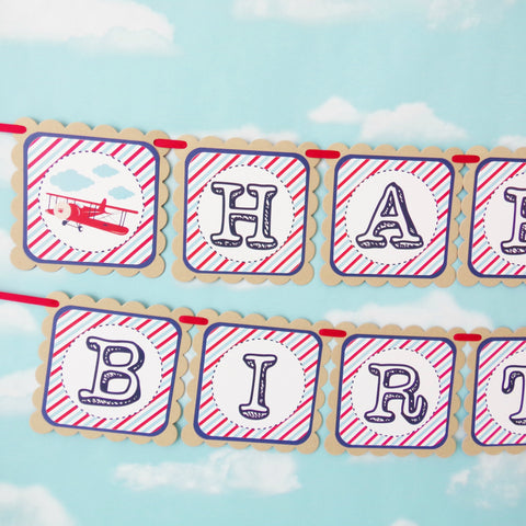 Vintage Airplane Birthday Banner