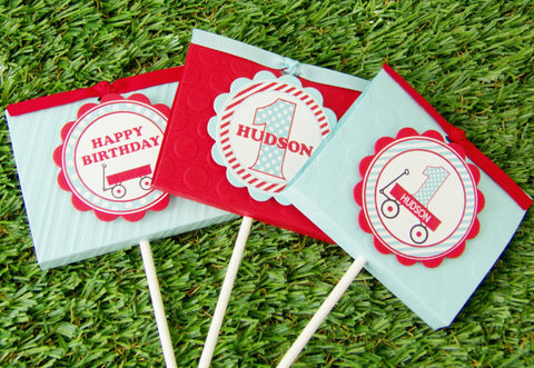 Little Red Wagon Lollipop Favors