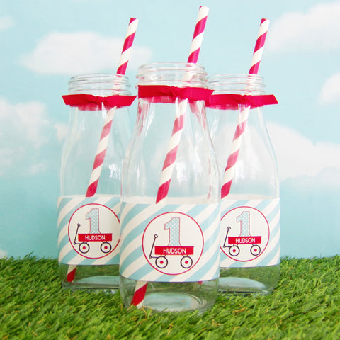 Little Red Wagon Water/Milk Bottle Labels