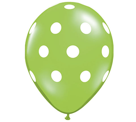 Lime Polka Dot Latex Balloons