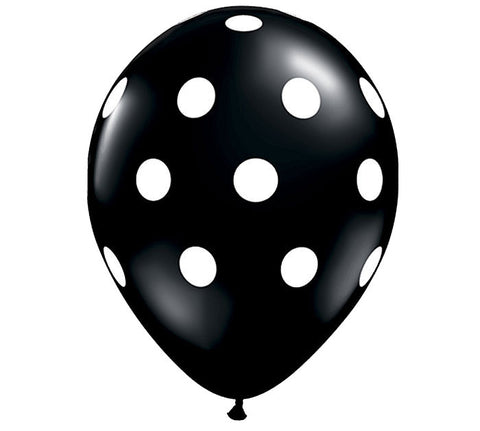Black Polka Dot Latex Balloons