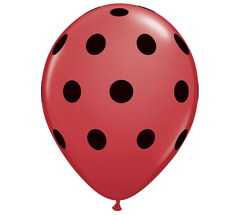 Red & Black Polka Dot Latex Balloons
