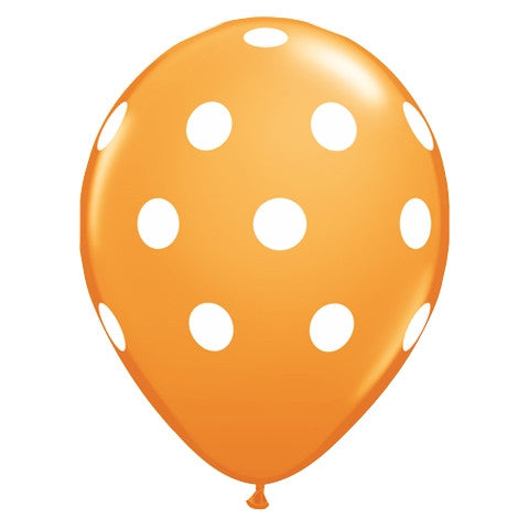 Orange Polka Dot Latex Balloons
