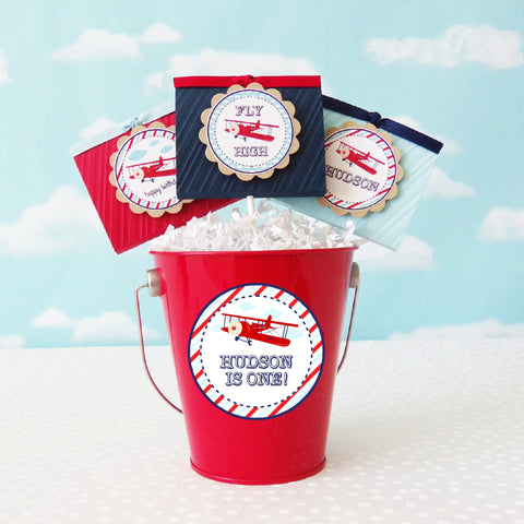 Vintage Airplane Lollipop Favors