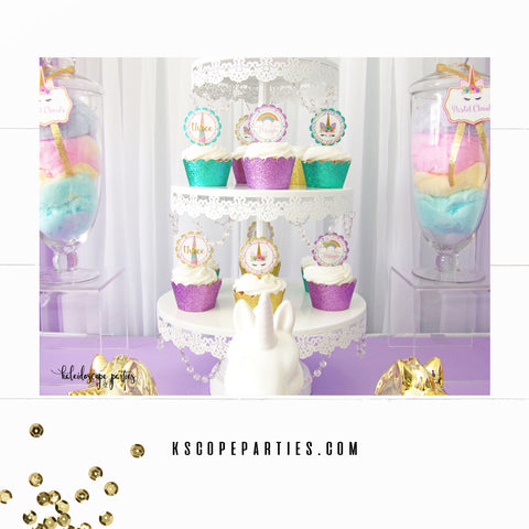 Unicorn Birthday Cupcake Toppers & Wrappers