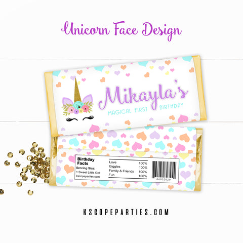 Unicorn Face Candy Bar Wrappers & Foils