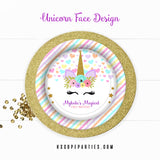 Unicorn Face Birthday Personalized Dinner Plates {Free Shipping}